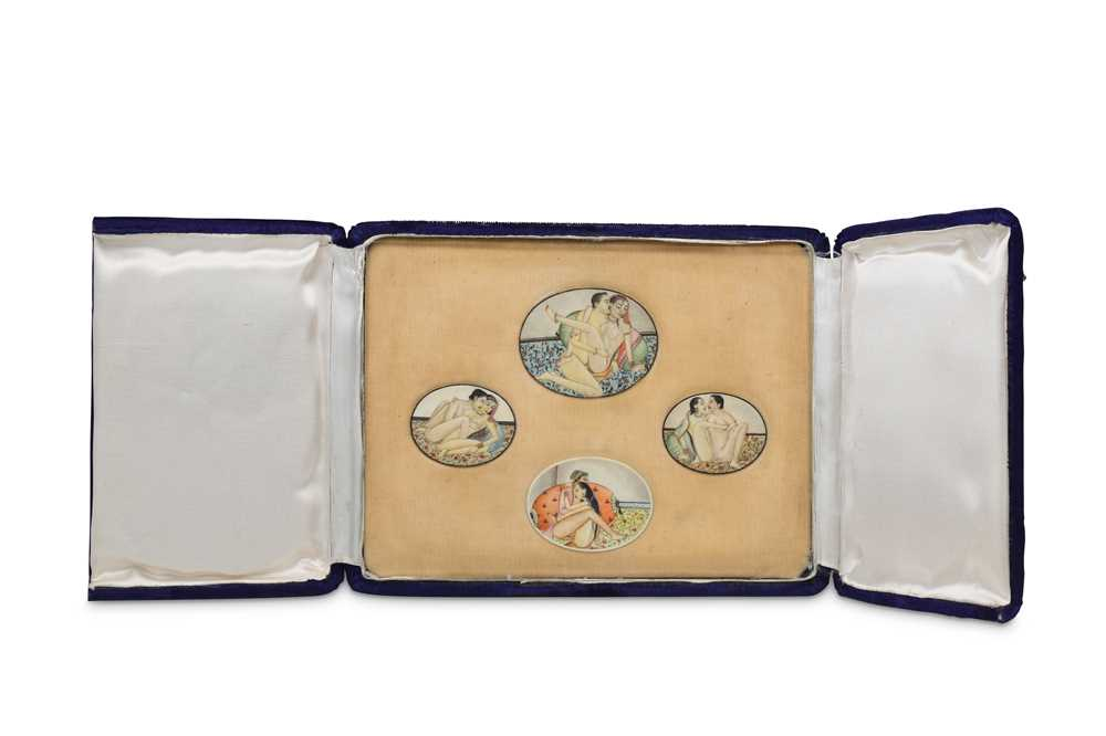 Lot 1023-λ Four Erotic Miniatures on Ivory
