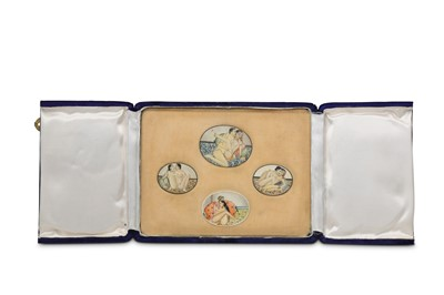 Lot 1023 - λ Four Erotic Miniatures on Ivory