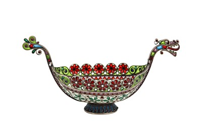 Lot 59-An early 20th century Norwegian 930 standard silver gilt and plique-à-jour enamel boat, Oslo circa 1910 by Marius Hammer