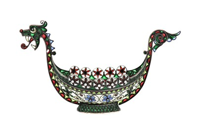 Lot 58-An early 20th century Norwegian 930 standard silver gilt and plique-à-jour enamel boat, Oslo circa 1910 by Marius Hammer