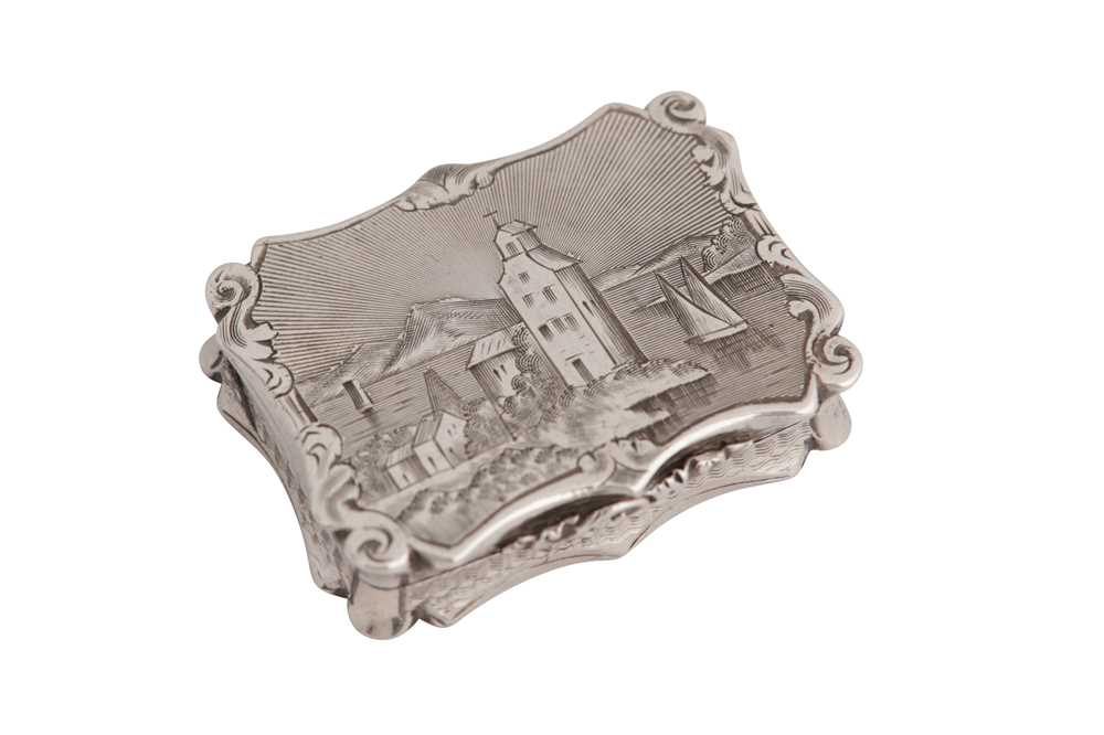 Lot 11-A Victorian sterling silver 'castle top' vinaigrette, Birmingham 1845 by Nathanial Mills