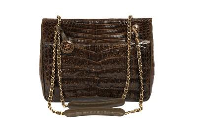 Lot 1249-Chanel Brown Alligator Shoulder Bag