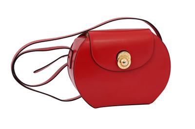 Lot 10 - Celine Red Oval Flap Crossbody Bag