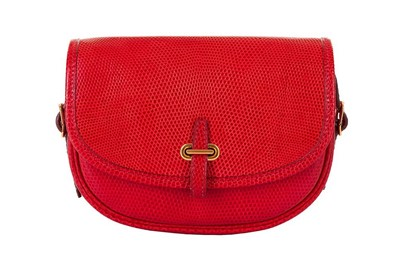 Lot 1-Hermes Rouge Vif Shiny Lizard Crossbody Bag