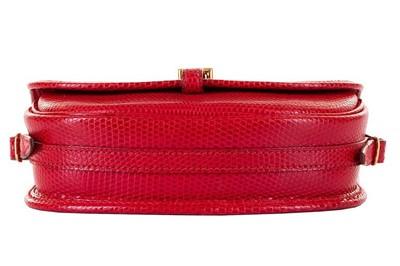 Lot 4 - Hermes Rouge Vif Shiny Lizard Crossbody Bag