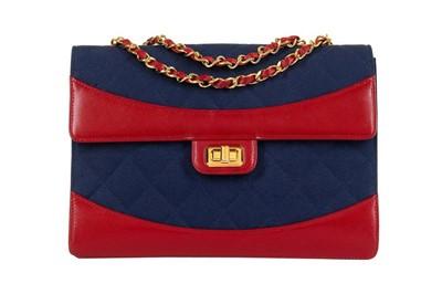 Lot 2-Chanel Bicolour Jersey Flap Bag