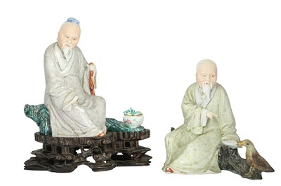 Lot 212-TWO CHINESE FAMILLE ROSE SCHOLAR FIGURES.