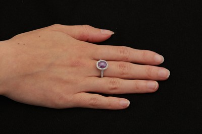 Lot 8-A star ruby and diamond cluster ring