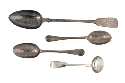 Lot 65-A mixed group – A George I sterling silver dessert spoon, London 1720 makers mark obscured