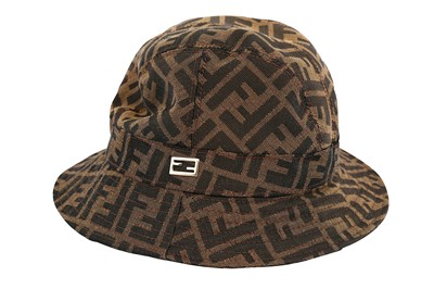 Lot 1246-Fendi Brown Zucca Bucket Hat - Size M