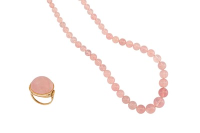 Lot 1214-A rose quartz necklace and ring