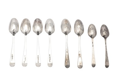 Lot 82-A set of four George III sterling silver picture back teaspoons, London 1785 by Charles Hougham