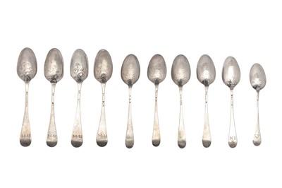 Lot 83-A set of four George III sterling silver fancy back teaspoons, London circa 1757 by John Kentesber & Thomas Grove (reg. June 1757)