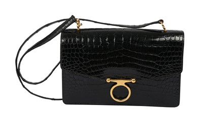 Lot 1263-Hermes Black Crocodile Sac Ring Bag