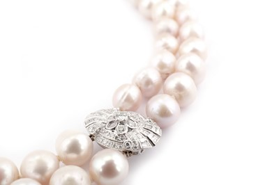 Lot 24-A cultured pearl and diamond necklace