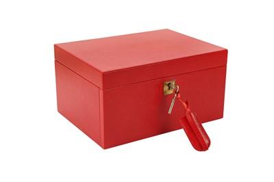 Lot 1222-Smythson Red Jewellery Box