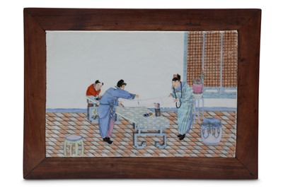 Lot 215-A CHINESE FAMILLE ROSE 'ARTISTS' PORCELAIN PLAQUE MOUNTED AS A LOW TABLE.