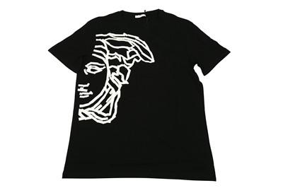 Lot 1292-Versace Collection Black Tape Half Medusa Logo T-Shirt - Size L