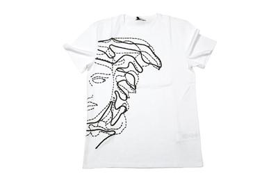 Lot 1290-Versace Collection White Large Half Medusa Logo T-Shirt - Size M