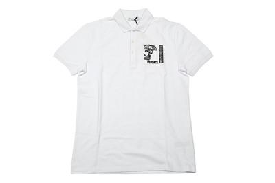 Lot 1287-Versace Collection White Medusa Logo Polo Shirt - Size S