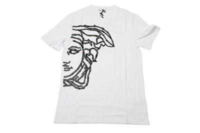 Lot 1286-Versace Collection White Tape Half Medusa Logo T-Shirt - Size L