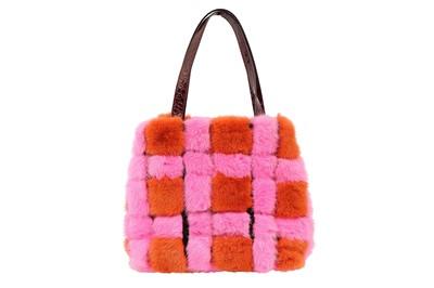 Lot 25-Dolce & Gabbana Orange Patchwork Fur Bag