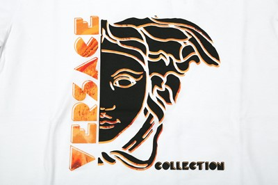 Lot 1211-Versace Collection White Medusa Logo T-Shirt - Size S