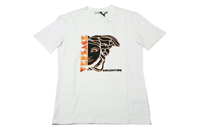 Lot 1213-Versace Collection White Medusa Logo T-Shirt - Size L