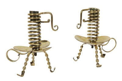 Lot 86-A PAIR OF RARE AND UNUSUAL LATE 19TH CENTURY BRASS 'COURTING' CANDLESTICKS
