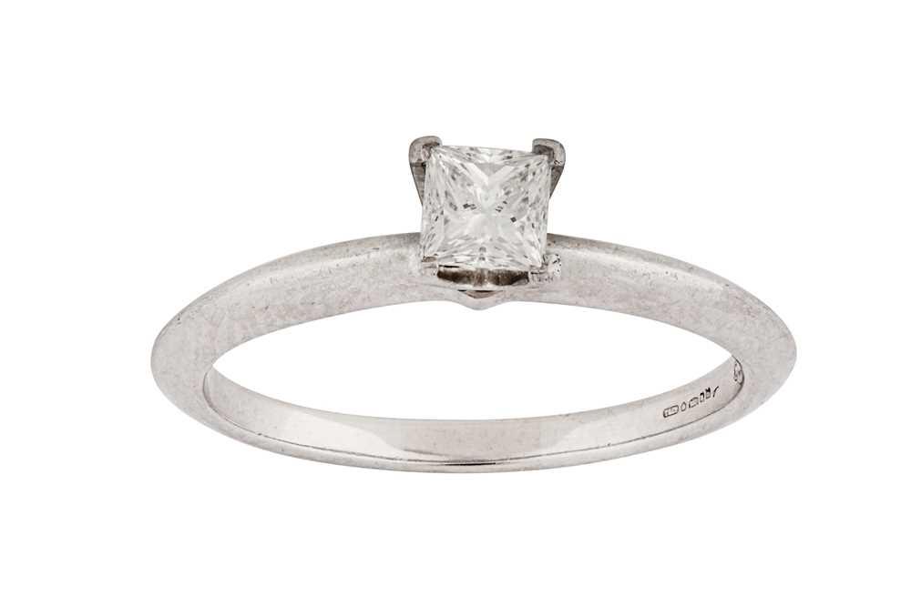 Lot 29-A diamond single-stone ring, by Tiffany & Co.