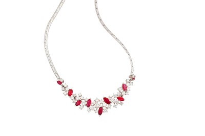 Lot 6-A ruby and diamond necklace