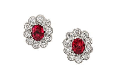 Lot 1206-A pair of ruby and diamond earstuds