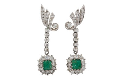 Lot 1225-A pair of emerald and diamond earrings