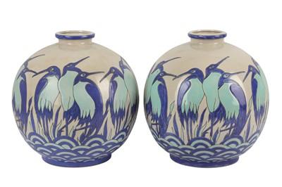 Lot 20-KERALOUVE LA LOUVIERE: a pair of Belgian contemporary pottery vases