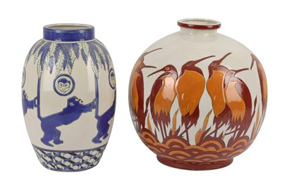 Lot 23-KERALOUVE LA LOUVIERE: two Belgian contemporary pottery vases