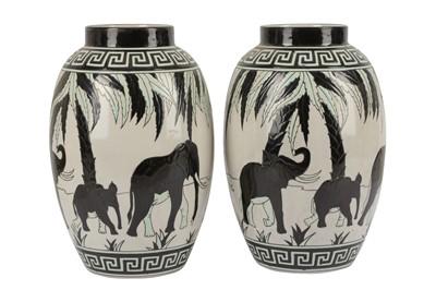 Lot 21-KERALOUVE LA LOUVIERE: a pair of Belgian contemporary pottery vases