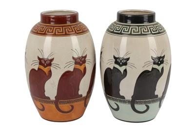 Lot 22-KERALOUVE LA LOUVIERE: a pair of matched Belgian contemporary pottery vases