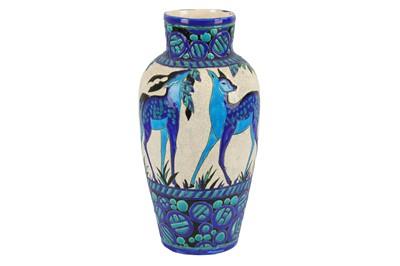 Lot 17-BOCH FRERES: a large Art Deco 'Biches Bleues' vase