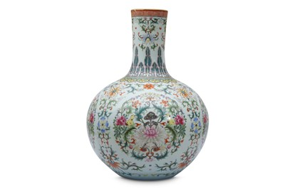 Lot 299 - A LARGE CHINESE FAMILLE ROSE VASE, TIANQIUPING. - NO ONLINE BIDDING