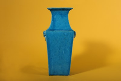 Lot 45-A CHINESE SQUARE-SECTION TURQUOISE-GLAZED VASE.