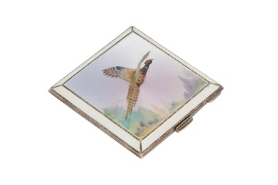 Lot 51-A George VI sterling silver and guilloche enamel compact, Birmingham 1951 by Henry Clifford Davis