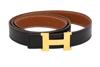 Lot 1268-Hermes Black Reversible Constance Belt - Size 85