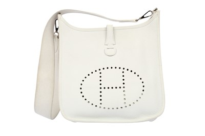 Lot 1201-Hermes White Clemence Evelyne I PM