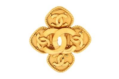 Lot 1277-Chanel CC Logo Four Leaf Clover Brooch
