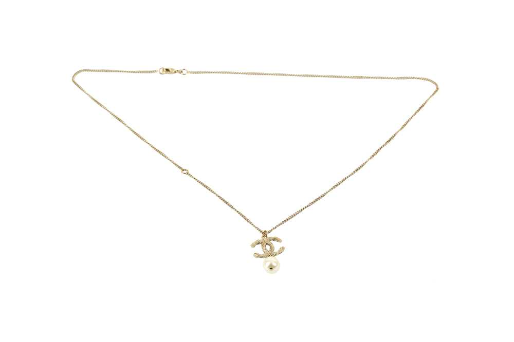 Lot 1208-Chanel CC Crystal Logo Pearl Necklace