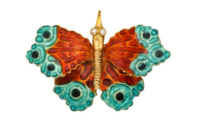 Lot 1207-An enamel and diamond butterfly brooch