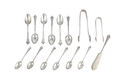 Lot 50-A George V sterling silver set of Albany pattern teaspoons, Sheffield 1911 by Mappin & Webb