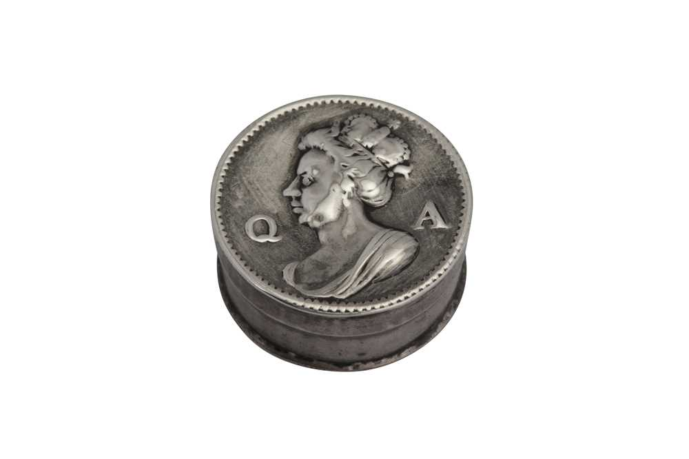 Lot 15-A Queen Anne silver commemorative patch box, London circa 1705 by Thomas Keddar