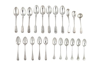Lot 66-A mixed group of George III and later sterling silver flatware