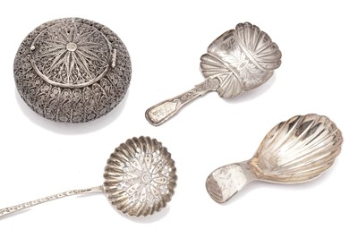 Lot 43-A mixed group – including a Victorian caddy spoon, Birmingham 1850 by James Collins